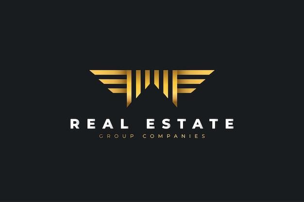 Gold real estate logo mit anfangsbuchstabe m mit flügeln. konstruktionsvorlage für bau-, architektur- oder gebäudelogos
