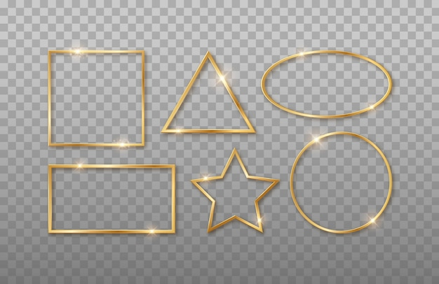Gold realistische geometrische 3d-formen. rechteck, quadrat, oval, kreis, stern. rahmen mit unterschiedlichen formen