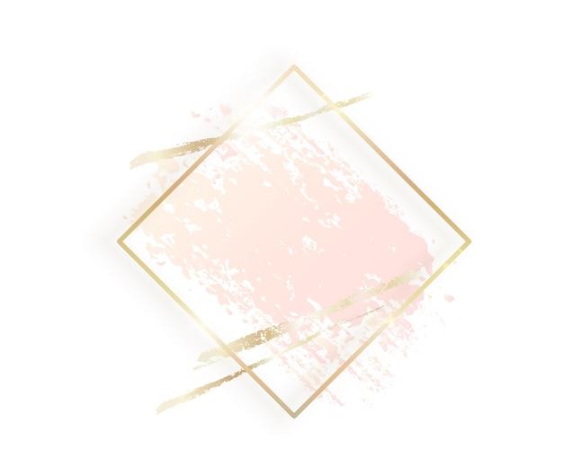 Gold rhombus rahmen mit pastell nackt rosa textur, goldene pinselstriche isoliert