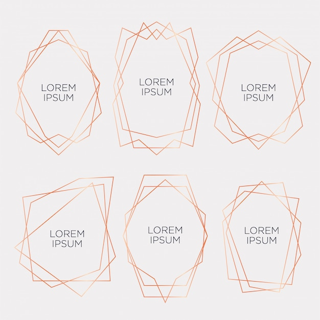 Gold-sammlung von geometrischen polyeder für hochzeit und party