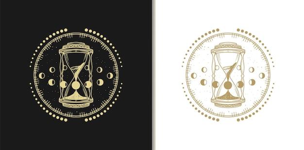 Gold sanduhr logos, luxus design vorlage
