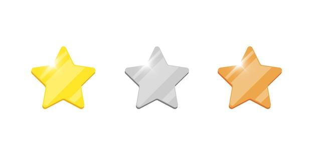 Gold-silber-bronze-abzeichen-stern-belohnungssymbol für computer-videospiele oder mobile apps-animation. erster, zweiter, dritter platz, bonusleistungspreis. siegertrophäe lokalisierte flache zeichenvektorillustration
