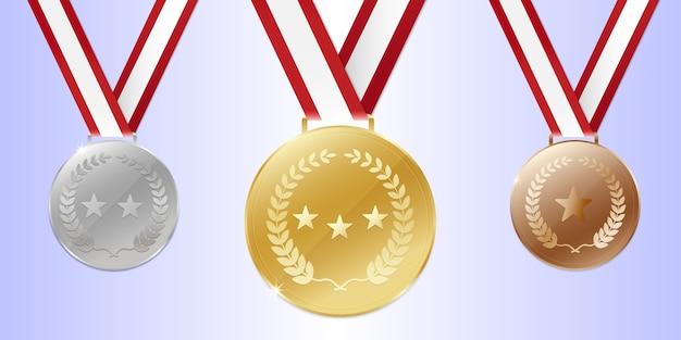 Gold silber bronze champion medaillen mit band.