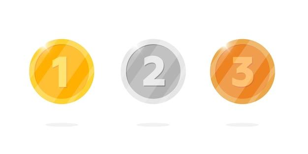 Gold-silber-bronze-medaillen-belohnungssatz mit der ersten zweiten dritten platznummer. videospiel- oder app-animationsbonus-erfolgsprämie. siegertrophäe isolierte flache vektor-eps-illustration