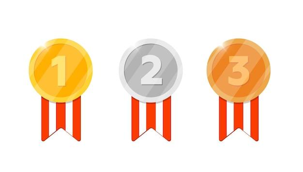 Gold-silber-bronze-medaillen-belohnungsset mit erster, zweiter, dritter platznummer und gestreiftem band für videospiel- oder app-symbol. bonus-erfolgsprämie. siegertrophäe lokalisierte flache vektorillustration