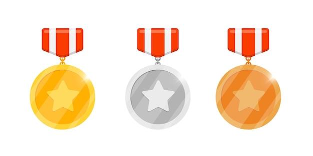 Gold-silber-bronze-medaillen-belohnungsset mit stern und gestreiftem band für videospiel- oder app-animationen. erster, zweiter, dritter platz, bonusleistungspreis. siegertrophäe isolierte flache eps-vektorillustration