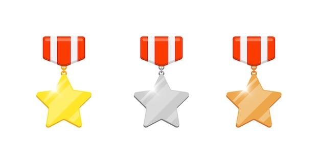 Gold-silber-bronze-medaillen-sterne-belohnungsset für videospiel- oder app-animationen. erster, zweiter, dritter platz, bonusleistungspreis. siegertrophäe isolierte flache eps-vektorillustration
