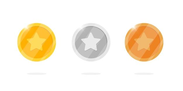 Gold-silber-bronze-medaillenmünzensatz mit stern für videospiel- oder app-animationen. bingo jackpot casino poker gewinnelemente. bargeldschatzkonzept lokalisierte flache eps-vektorillustration