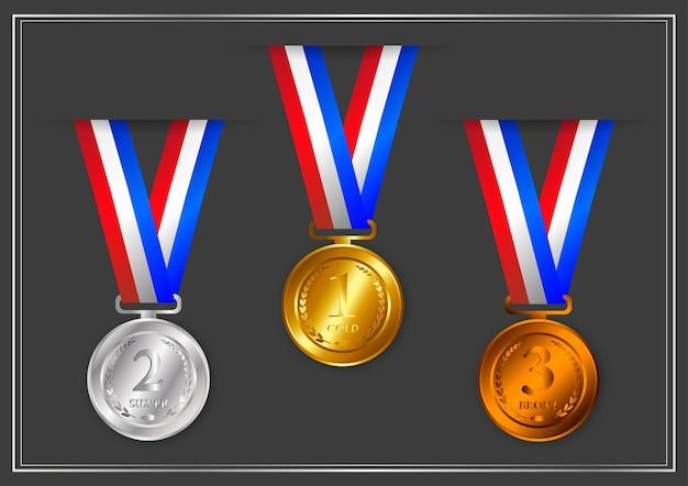 Gold, silber, bronze, preismedaillen mit bändern
