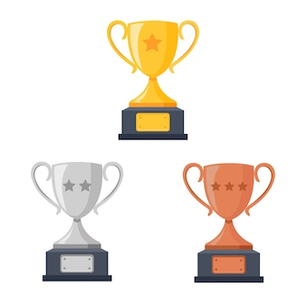 Gold-, silber-, bronze-trophäenbecher, becher auf dem podium