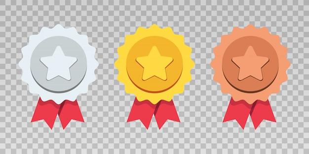 Gold-, silber-, bronzemedaillenset. gewinner medaillen. realistisches metallabzeichen mit dem ersten, zweiten und dritten platz. rundes medaillen-rotes band. spiel golden, silber, bronze trophy. illustration.
