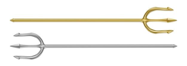 Gold-silber-dreizack-teufel-heugabel isolierte realistische reihe von mythologie-waffen des griechischen gottes poseidon