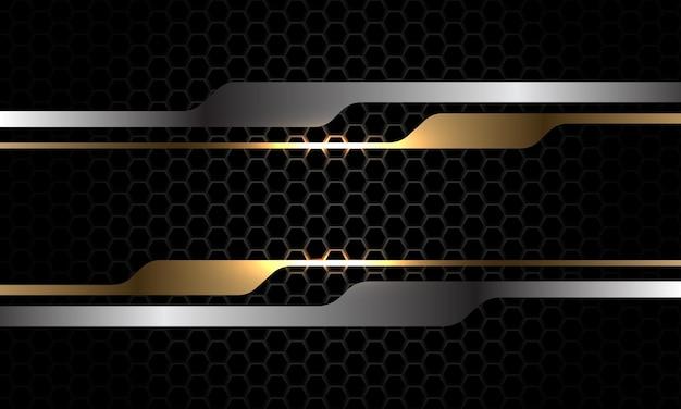 Gold silber geometrische banner dunkelmetallic hexagon luxus futuristische hintergrundvektorillustration
