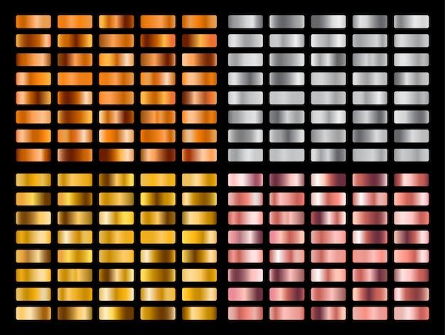 Gold-, silber-, rosa-, orange-metall-farbverlaufssammlung und goldfolien-textur-set.