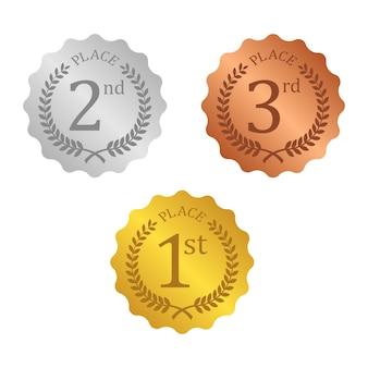 Gold silber und bronze medaille symbol
