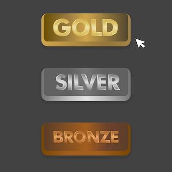 Gold silber und bronze schaltflächen mit mausklick symbol vektor-illustration eingestellt.