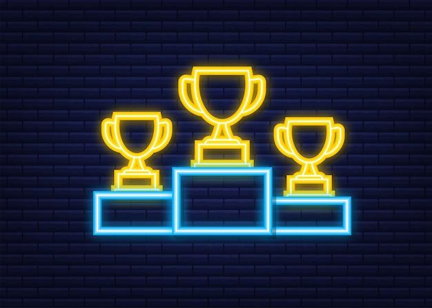 Gold-, silber- und bronze-trophy-cup auf blauem siegerpodest. geschäftliche oder sportliche leistungen, der meistertitel. neon-symbol. vektorgrafik auf lager.