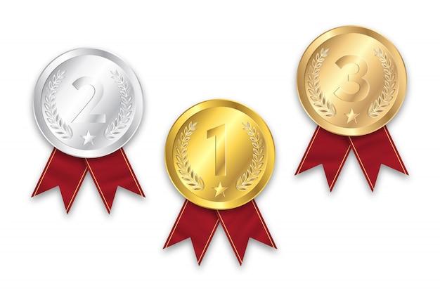Gold-, silber- und bronzemedaille