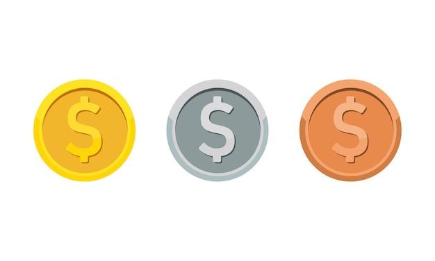Gold-, silber- und bronzemünzen mit dollarsymbol. rang medaille flach icon-set. vektor auf weißem hintergrund isoliert. eps 10.