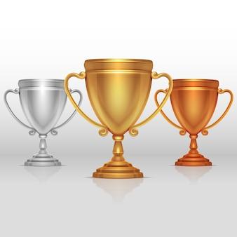 Gold-, silber- und bronzesiegerschale, bechervektor. satz von sport trophäen zu den gewinnern illustrati