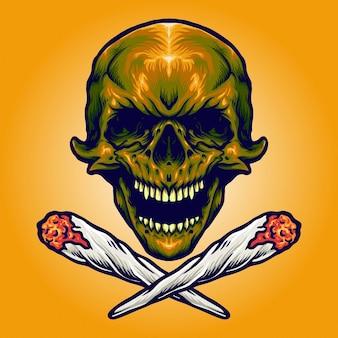 Gold skull smoking marihuana vektorillustrationen für ihre arbeit logo, maskottchen-waren-t-shirt, aufkleber und etikettendesigns, poster, grußkarten, werbeunternehmen oder marken.