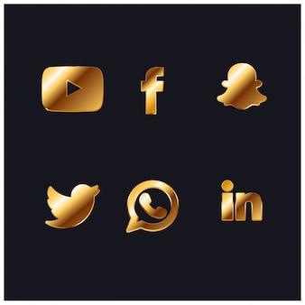 Gold soziales netzwerk icon