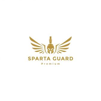 Gold spartanischer krieger mit flügellogo, spartanischer engel