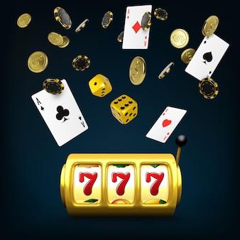 Gold spielautomat und würfelt schwarze spielkarten, vier asse und fallende pokerchips. großes gewinnplakat des casinos. 3d-design-element für glücksspiel-banner. vektor-illustration
