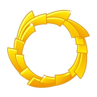 Gold-spielavatar, runde rahmenvorlage der lizenzgebühren für die spiel-ui. vektorillustration einfacher leerer glänzender goldgewinnerrahmen für spielgrafikdesign.