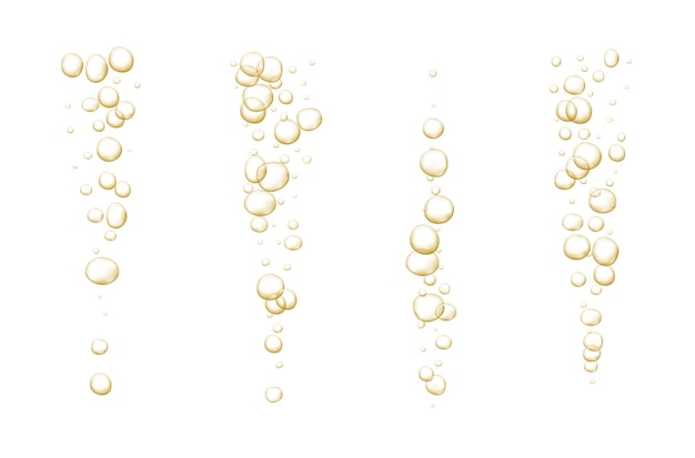 Gold sprudelnde blasen abstrakte frische soda- und luftblasen sauerstoff-champagner-kristall