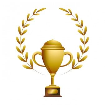 Gold trophy mit laurel whreat