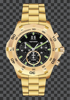 Gold uhr uhr chronograph luxus hintergrund.