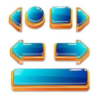 Gold und blu buttons für spiel
