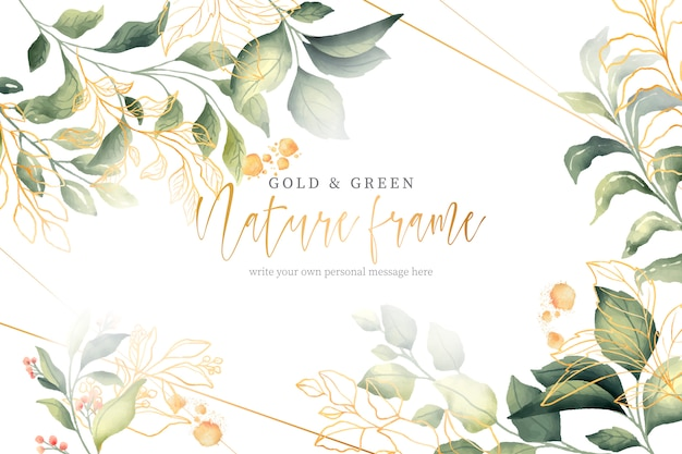 Gold und grüner naturrahmen Kostenlosen Vektoren