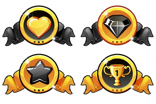 Gold und schwarze ikone entwerfen für spiel, ui-vektorfahne