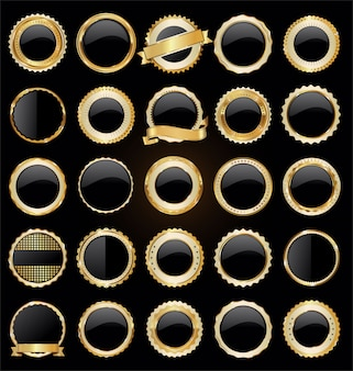 Gold und schwarze retro- verkaufsausweise und aufklebersammlung