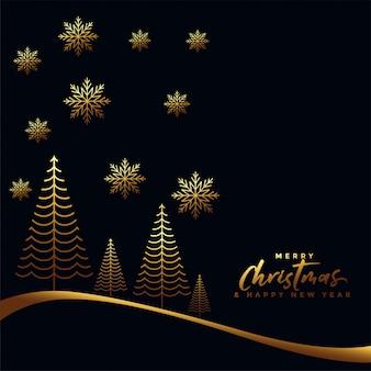 Gold und schwarzer hintergrund der frohen weihnachten