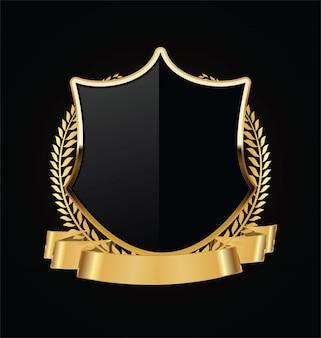 Gold und schwarzes schild mit goldlorbeeren