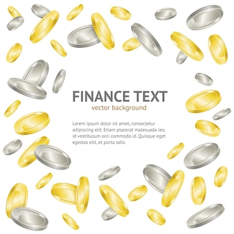 Gold- und silbermünzen-geldrahmenhintergrund mit beispieltextschablone