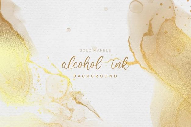 Gold und weißer alkoholtintenhintergrund