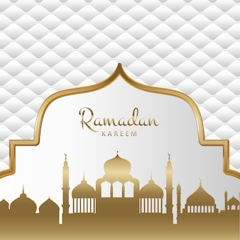 Gold und weißer dekorativer ramadan kareem hintergrund