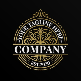 Gold vintage kreis einzigartige logo und etikettenvorlage