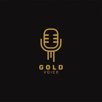 Gold voice logo vorlage design. illustration. abstrakte mikrofon-web-symbole und -logo. Premium Vektoren