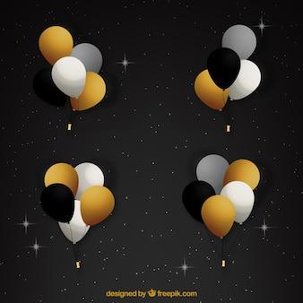 Gold weiß und schwarz ballons bündel sammlung