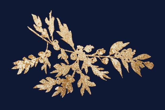 Gold winter redberry pflanze vektor glänzende grafik