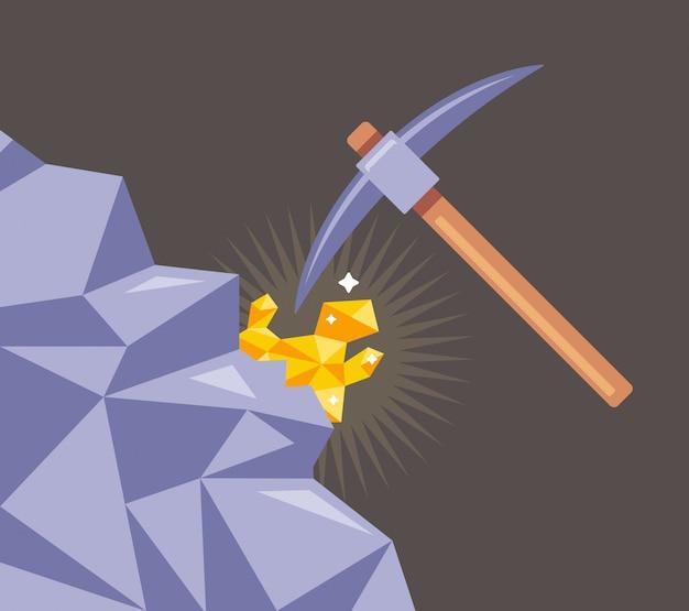Goldabbau aus felsen. schneiden sie das mineral mit einer spitzhacke aus dem stein. flache illustration.