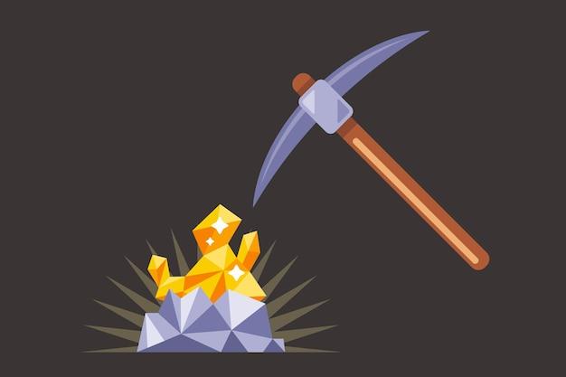 Goldabbau im untergrund. finde ein kostbares nugget. arbeite mit einer spitzhacke in der mine. eben