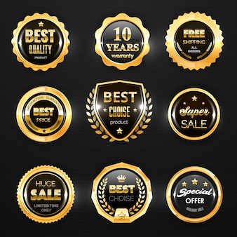 Goldabzeichen, etikett und stempelsiegel. medaillen in premiumqualität, beste auswahl und bester preis, sonderangebot und garantiezertifikat für geschäftsembleme und -schilde, werbedesign