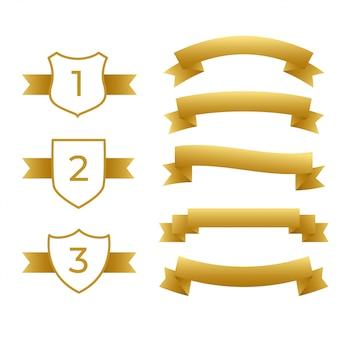 Goldbänder und etiketten gesetzt
