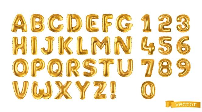Goldballons, alphabetbuchstaben und zahlen 3d gesetzt